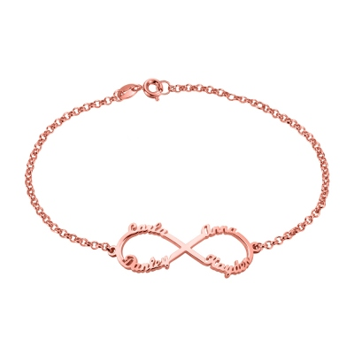 Personalized Infinity Four Names Family Bracelet In Rose Gold