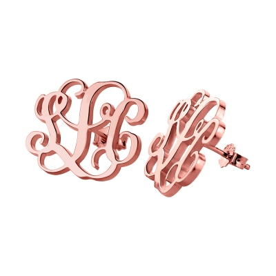 Monogram Stud Earrings 18K Rose Gold Plated Silver