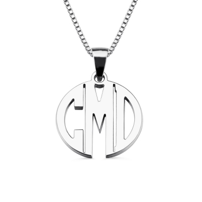 Custom XS Block Monogram Necklace In Sterling Silver