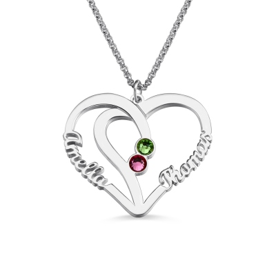 Open Heart Necklace with Two Birthstones & Names