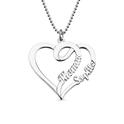Double Heart Love Necklace With Two Names Sterling Silver