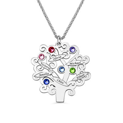 Personalized Mother Day's Family Tree Necklace For Mom or Grandma