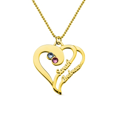 Two Heart Forever Name Necklace with Birthstone In Gold