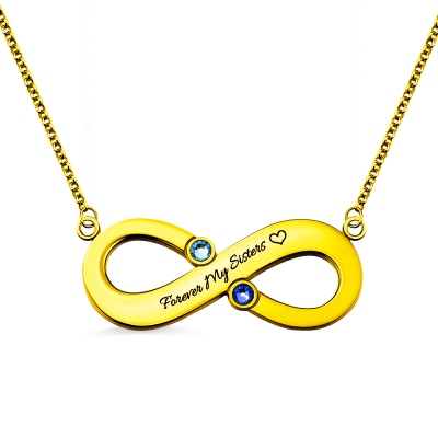 Engraved Infinity Necklace With Two Birthstones Gold Plated Silver