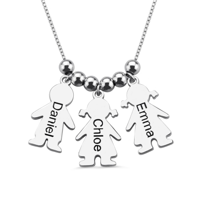 Engraved Name Kids Charms Mother's Necklace Sterling Silver
