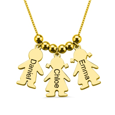 Engraved Name Kids Charms Mother's Necklace Gold Plated Silver