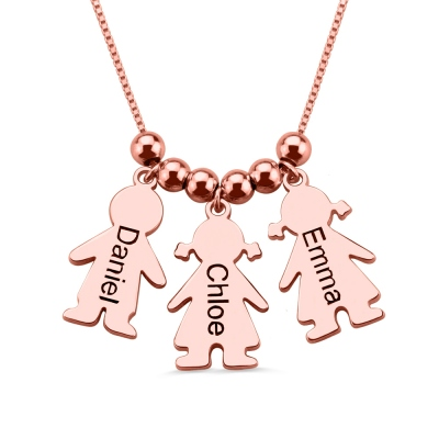 Engraved Name 3 Kids Charms Mother's Necklace Rose Gold