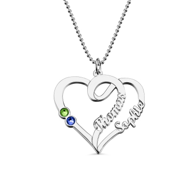 Couple Heart Names Necklace with Birthstones Sterling Silver