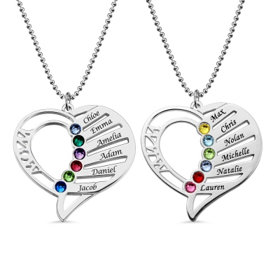 Engraved Heart Mother Birthstones Necklace in Sterling Silver
