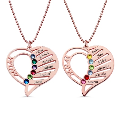 Engraved Heart Mother Birthstones Names Necklace In Rose Gold
