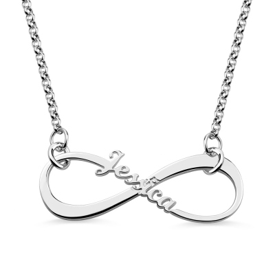 Delicate Single Name Infinity Necklace Sterling Silver