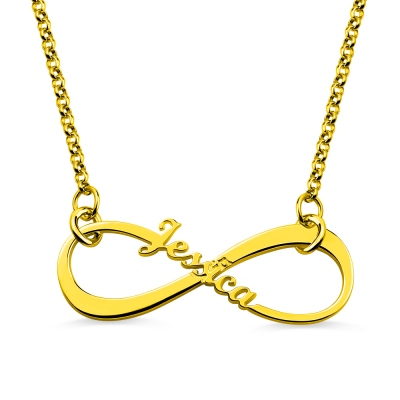 Personalized Single Name Infinity Necklace Gold Plated Silver