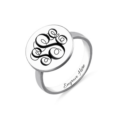 Disc Engraved Monogram Signet Ring Sterling Silver