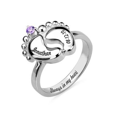 Engraved Baby Feet Ring with Birthstone Platinum Plated
