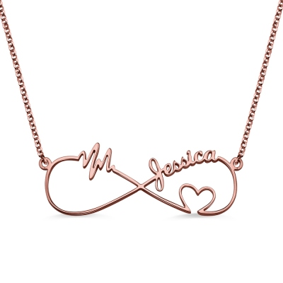 Infinity Heartbeat Name Necklace In Rose Gold