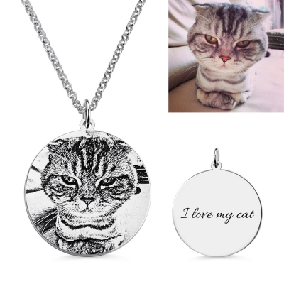 Personalized Cat Pet Photo Engraved Necklace Sterling Silver