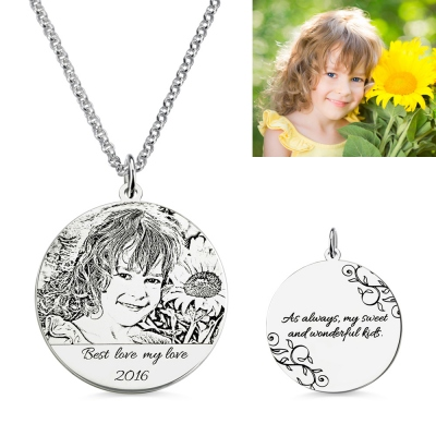 Personalized Photo-Engraved Necklace Memorial Jewelry