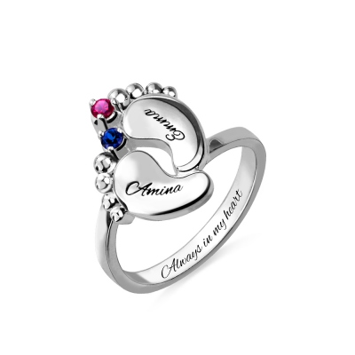 Engraved Baby Feet Birthstone Name Ring for Mothers Platinum Plated