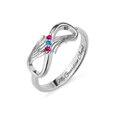 Engraved Angel Wings Infinity Ring with Birthstones Silver