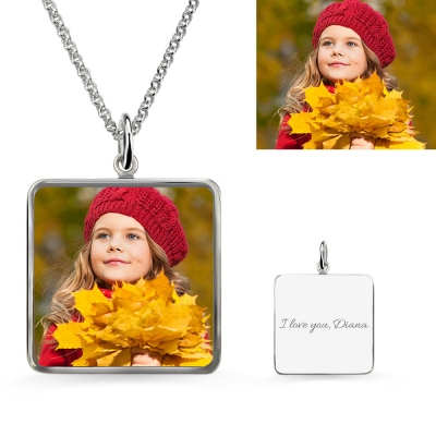 Square Engraved Epoxy Little Girl Photography Necklace