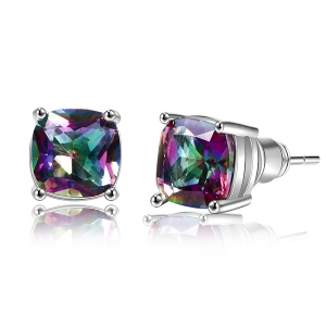 Square Rainbow CZ Earrings