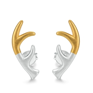 Deer Antler Stud 2 Tones Earrings