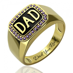 Gold Plated Silver Glaring Customizable Men's Birthstone DAD Ring