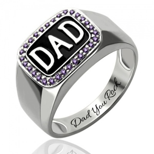 Glamorous Men's Birthstone DAD Ring Platinum Plated Silver