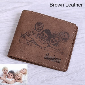 Men's Engraved Photo Nubuck Leather Short Wallet