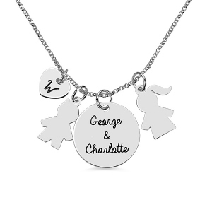 Personalized Kids Pendant Name Necklace for Mother Sterling Silver