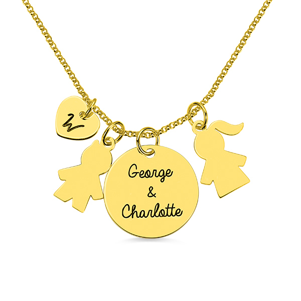 Personalized Kids Pendant Name Necklace for Mother in Gold