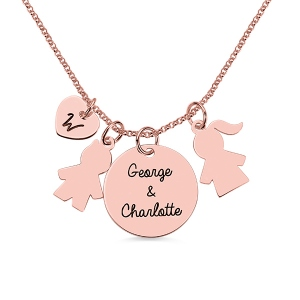 Personalized Kids Pendant Name Necklace for Mother in Rose Gold