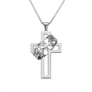 Personalized Men's Symbol of Faith Cross Halo Ring Necklace