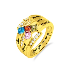 Personalized Square Birthstone Name Ring in Gold