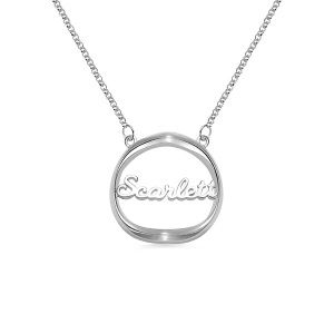 Personalized Shadow Heart Name Necklace in Silver