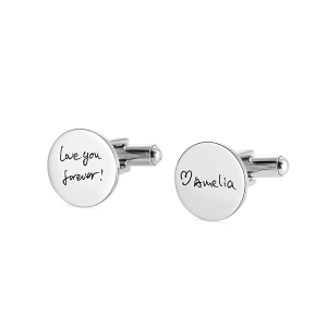 Personalized Handwriting Disc CuffLinks in Stainless Steel