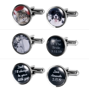 Personalized Round Photo CuffLinks in Stainless Steel
