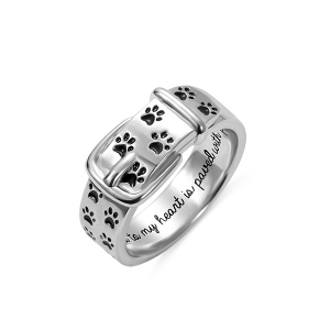 Engraved Pet Collar Ring with Footprint in Silver