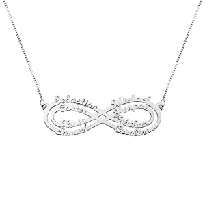 Personalized 8 Names Infinity Necklace in Silver