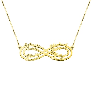 Personalized 8 Names Infinity Necklace in Gold