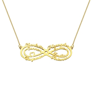 Personalized 7 Names Infinity Necklace in Gold