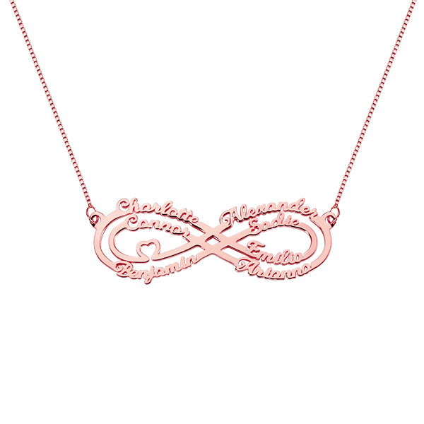 Personalized 7 Names Infinity Necklace in Rose Gold