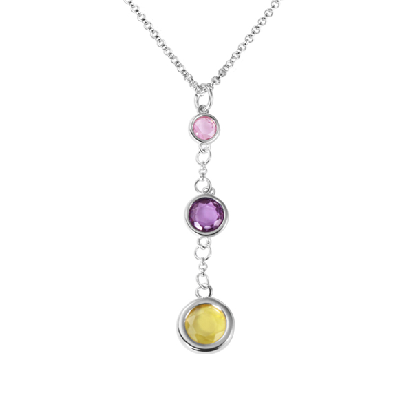 Personalized Three Generations Birthstone Necklace
