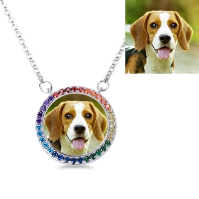 Rainbow Bridge Personalized Pet Photo Memorial Necklace