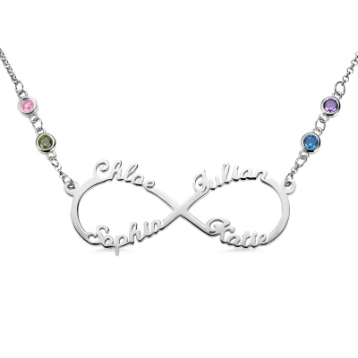 Custom 4 Names Infinity Necklace with Birthstones in Silver
