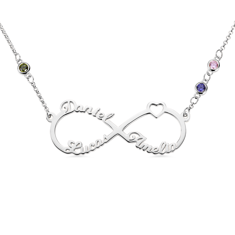 Personalized Sterling Silver Necklace with Three Names /& Birthstones