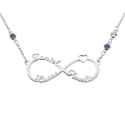 Custom 3 Names Infinity Necklace with Birthstones in Silver