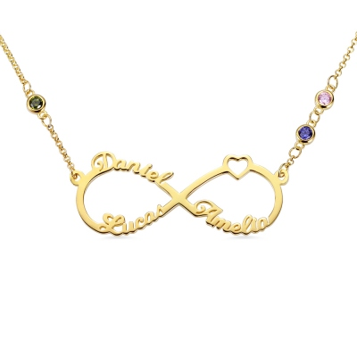 Custom 3 Names Infinity Necklace with Birthstones in Gold