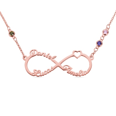 Custom 3 Names Infinity Necklace with Birthstones in Rose Gold