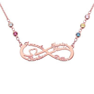 Personalized 5 Names Infinity Necklace with Birthstone